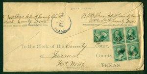 U.S. #213 x 5 on BRADY TEXAS legal size envelope