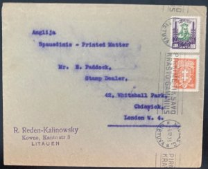 1935 Kaunas Lithuania Slogan Cancel cover To Stamp Dealer London England