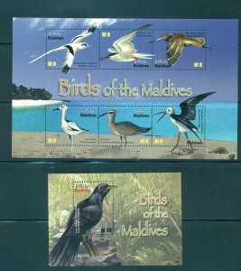 Birds - Maldive Is. - Sc# 3007-8. 2010 Birds. MNH Souvs. Sheet. $12.25.