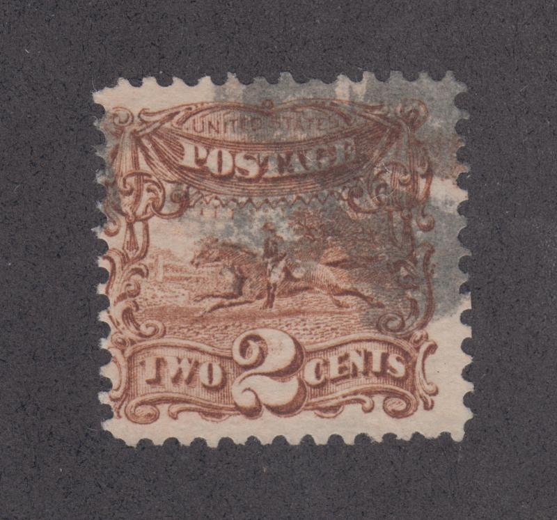 US Sc 113 used 1869 2c Post Rider G Grill, nice color