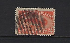 NEWFOUNDLAND SCOTT #48 1860-96 TWO CENTS (RED ORANGE) USED