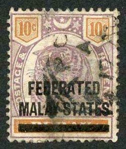 Malay States SG10 Malay States on 10c Perak (tiny thin at left)