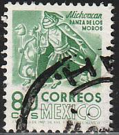MEXICO 1072, 80c 1950 Def 8th Issue Fosforescent coated. USED. F-VF. (745)