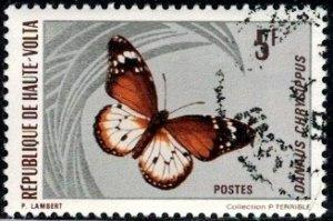 Butterfly, Danaus Chyrsippus, Burkina Faso stamp SC#247 used