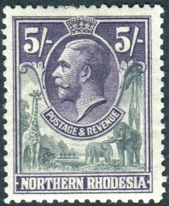 NORTHERN RHODESIA-1925-9 5/- Slate-Grey & Violet.  A mounted mint example Sg 14