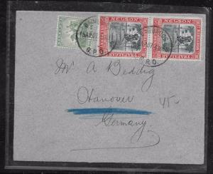 BARBADOS (P1201BB) 1907 NELSON 1D PR+1/2D SEAHORSE COVER TO GERMANY