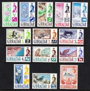 GIBRALTAR — SCOTT 147-160 (SG 160-173) — 1960 QEII SET — MLH — SCV $67.60