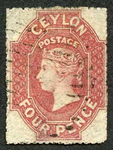 Ceylon SG30 4d Rose-red Wmk Star Rough Perf 14 to 15.5 cat 130 pounds (THIN)