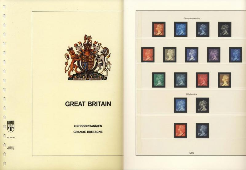 Great Britain UK 1990 Lindner Stamp Album Supplement Pages