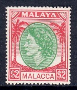 MALAYA (MALACCA) — SCOTT 43 (SG 37) — 1954-55 $2 QEII ISSUE — MH — SCV $29