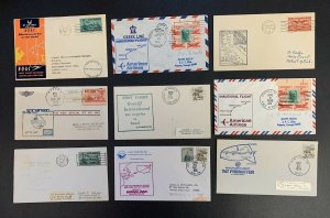 Lot of 9 First Flight Covers 1949-1981