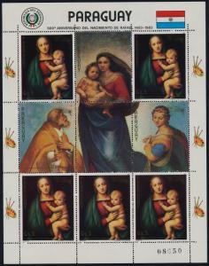 Paraguay 2059 sheet MNH Art, Madonna of the Grand Duke, Christmas