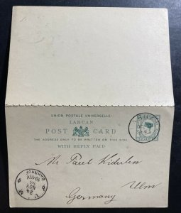 1895 Labuan Postal Stationery Reply Postcard cover To Ulm Germany