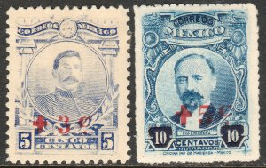 MEXICO B1-B2 5¢+3¢, 10¢+5¢, THE ONLY SEMI-POSTALS. UNUSED, H, OG. VF.