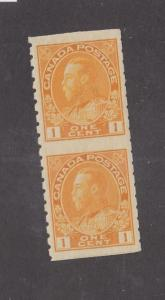 CANADA # 126a VF-MNH KGV 1ct COIL PAIR CAT VALUE $120