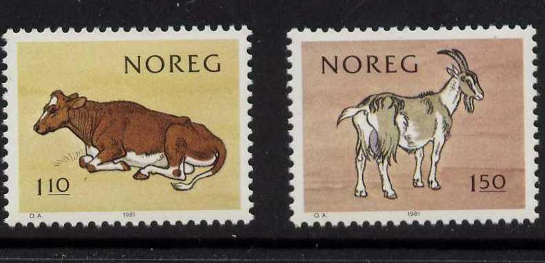 Norway 779-80 MNH Cow, Goat, National Milk Producers Assn