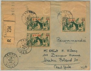 45126  - AOF NIGER / MAURITANIA -  POSTAL HISTORY: REGISTERED COVER from TANOUT