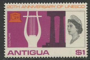 Antigua - Scott 185 - UNESCO -1966 - MVLH - Single $1  Stamp