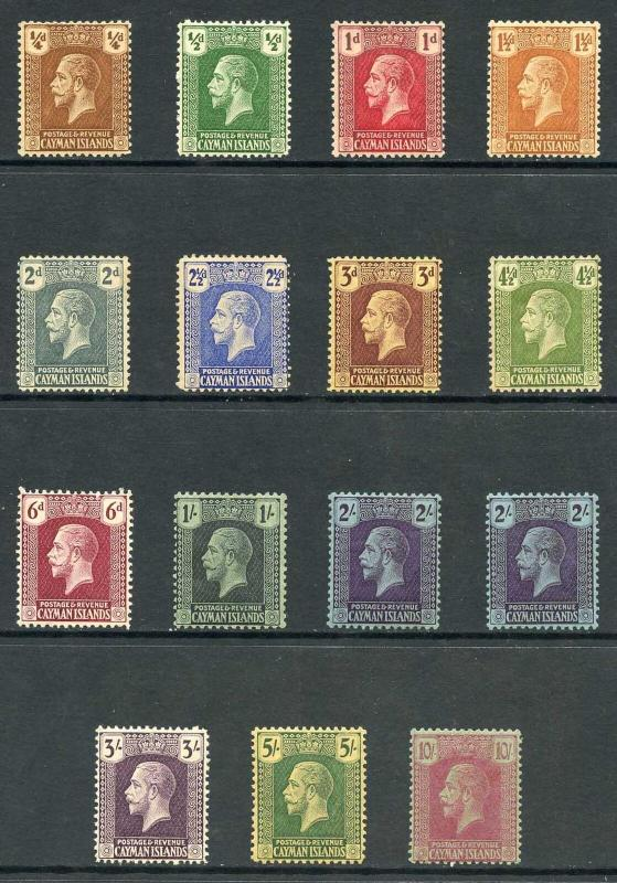 Cayman Is SG69/83 Set of 14 wmk Script M/Mint (some with brown gum)