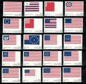 3403 (a-t) The Stars & Stripes Set Of 20 Singles Mint/nh Free Shipping (A-415)