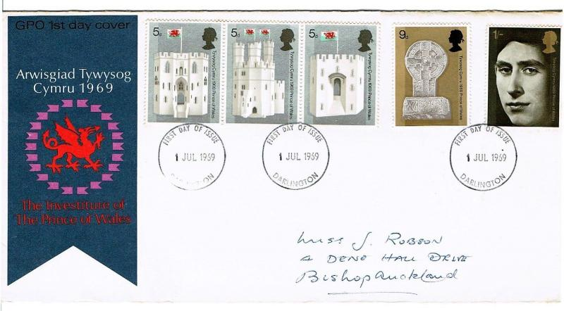 GREAT BRITAIN 1969 FDC - INVESTITURE OF PRINCE OF WALES, DARLINGTON CANCEL