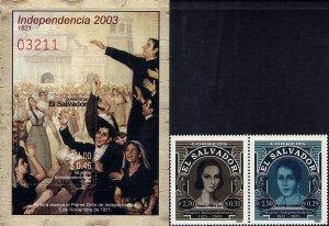 EL SALVADOR INDEPENDENCE 182nd ANNIVERSARY Sc 1583-1584 PAIR + S/S MNH 2003