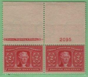 $US Sc#324 M/NH/F, Plate#imprint pair, Cv. $160