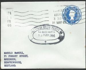 GB SCOTLAND 1966 cover Clyde Steamer T.S.QUEEN MARY II cachet............47929