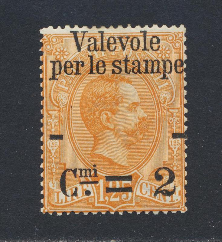 ITALY 1890, 2c on 1.25L, VF MINT Sc#62 CAT$50 (SEE BELOW)
