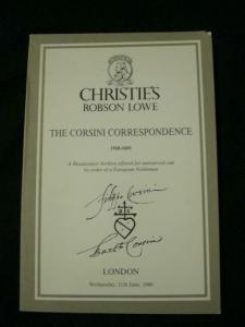 CHRISTIE'S AUCTION CATALOGUE 1986 THE CORSINI CORRESPONDENCE