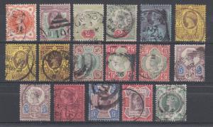 Great Britain SG 197-211 used. 1897 Queen Victoria Definitives, cplt set, sound.