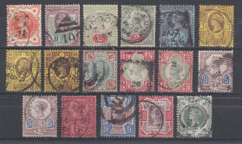 Great Britain SG 197-211 used. 1897 Queen Victoria Definitives, cplt set, sound.