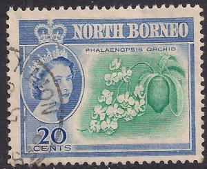 North Borneo 1961 QE2 20ct Butterfly Orchid SG 397 Used ( E573 )