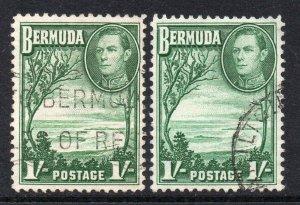 Bermuda 1938 KGVI 1 Beide Lampenschirme Sg 115, 115a Gebraucht