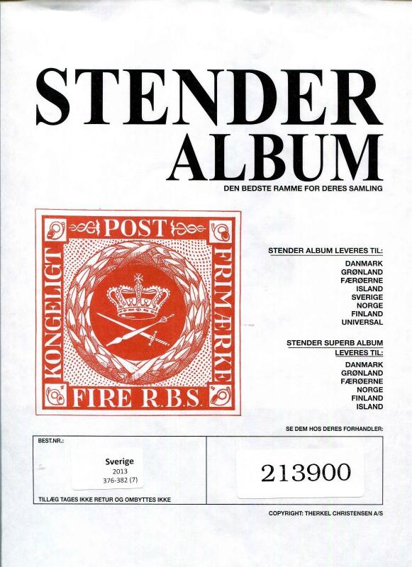 SWEDEN STENDER Album Supplements 2013, 2014, 2015 Purchased Never Used