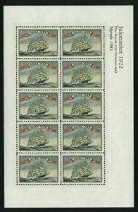 Denmark. Christmas Seal Souvenir Sheet 1922/83 Reprint. Mnh. Sailship