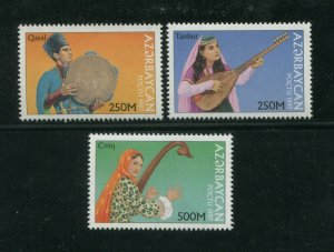 1997 Azerbaijan Postage Stamps #656-658 Set Traditional Music Qaval Tanbur Cenq