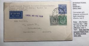 1931 Nairobi Kenya First Flight Cover FFC To Manchester England Via Kisumu