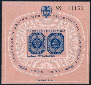 Colombia C355,MNH.Michel 892 Bl.15. Colombian postage stamps,centenary,1959.