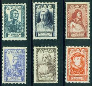 FRANCE Scott B207-212 MH* 1946 Semi Postal stamp set