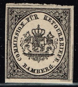 1865 Bamburg Bavaria German States Arms Crest Returned Letter Label Seal Stamp