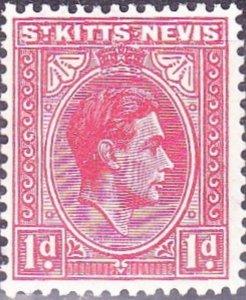 ST KITTS-NEVIS 1947 KGVI 1d Rose-Red SG69c MH
