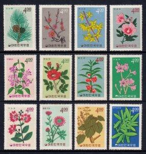 KOREA — SCOTT 456-467 — 1965 FLOWERS SET — MNH — SCV $24