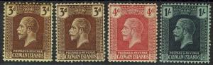CAYMAN ISLANDS 1921 KGV 3D BOTH SHADES 4D AND 1/- WMK MULTI CROWN CA