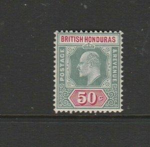 British Honduras 1904/7 EDV11 Defs 50c Fresh MM SG 90