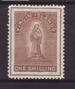1889 Virgin Is 1/- Sepia Wmk Crown CA Perf 14 Mint SG40