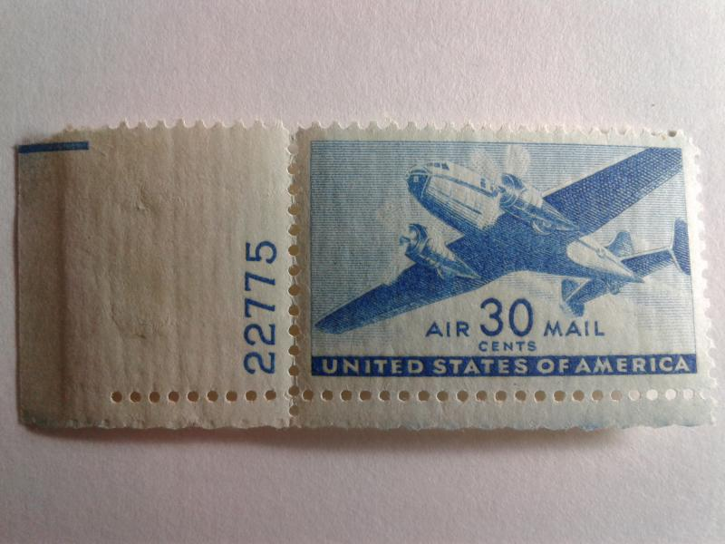 SCOTT # C30 GEM WITH PLATE # AIR MAIL MINT NEVER HINGED GREAT CENTERING !!