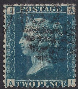 GB 1858 – 76 QV 2d Deep Blue ( A & I ) Victoria Plate 13 Used SG 47 ( R653 )