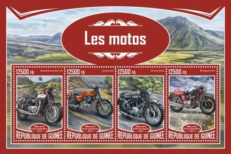 Guinea - 2017 Motorcycles - 4 Stamp Sheet - GU17325a
