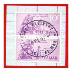 Isle of Man 10/- Purple Pair QEII Pictorial Revenues CDS On Piece